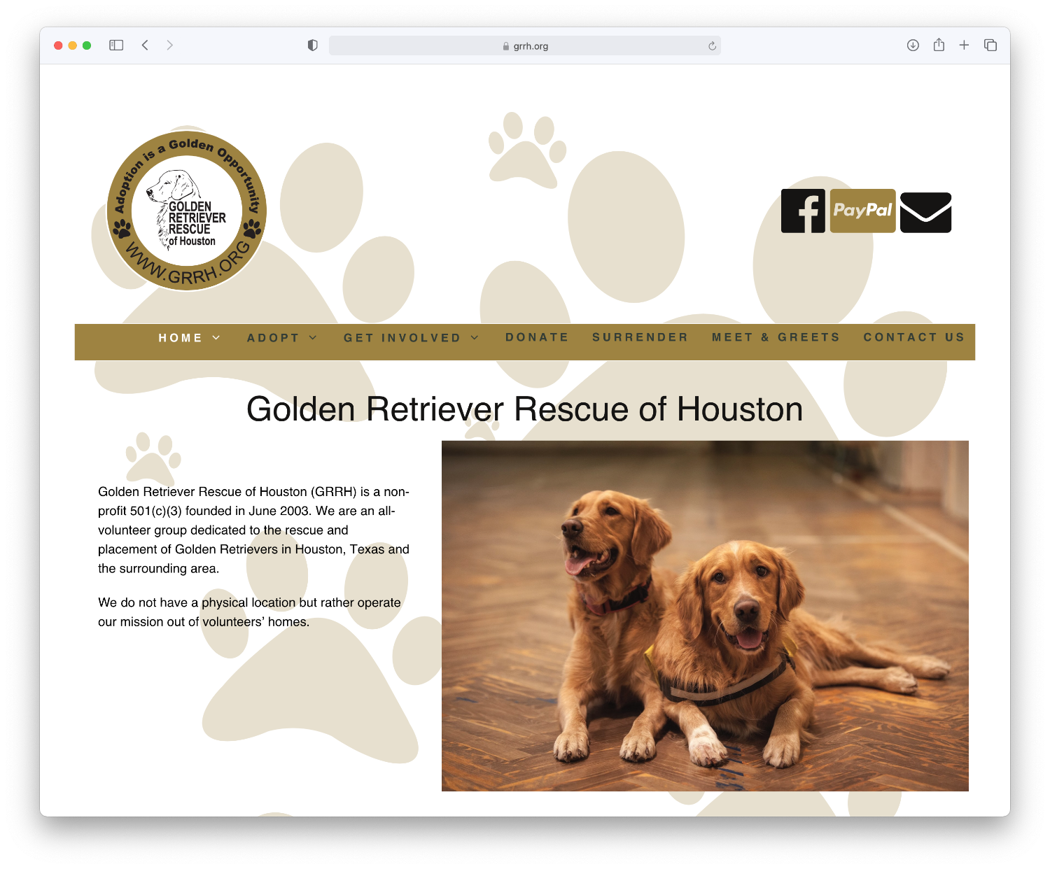 Golden Retriever Rescue of Houston website home page